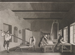 A Perspective View of a Lapping Room with the Measuring, Crisping or Folding the Cloth in Lengths